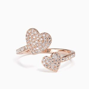 NEW 💎 Kate Spade Pave Yours Truly Heart Ring Rose